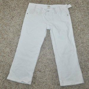H2j White Embroidered Distressed Jean Capris-11/12